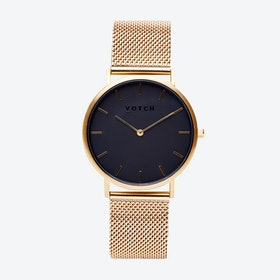 Classic Watch in Gold with Black Face and Gold Mesh Strap