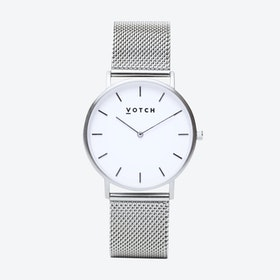 Classic Watch in Silver with White Face and Silver Mesh Strap