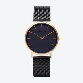 Classic Watch in Gold with Black Face and Black Mesh Strap