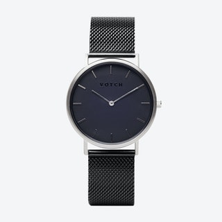Classic Watch in Silver with Black Face and Black Mesh Strap