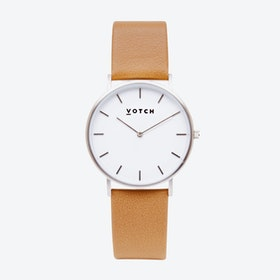 Classic Watch in Silver with White Face and Tan Vegan Leather Strap, 38mm