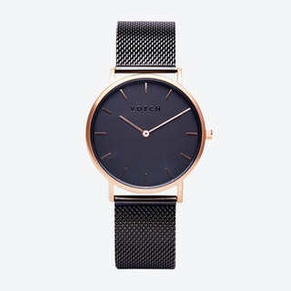 Classic Watch in Rose Gold with Black Face and Black Mesh Strap