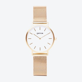 Petite Watch in Gold with White Face and Gold Mesh Strap