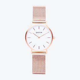 Petite Watch in Rose Gold with White Face and Rose Gold Mesh Strap