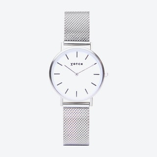 Petite Watch in Silver with White Face and Silver Mesh Strap
