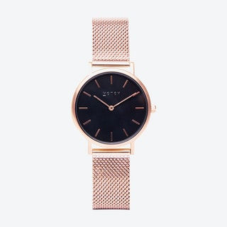 Petite Watch in Rose Gold with Black Face and Rose Gold Mesh Strap