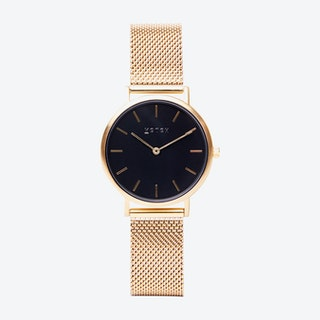 Petite Watch in Gold with Black Face and Gold Mesh Strap