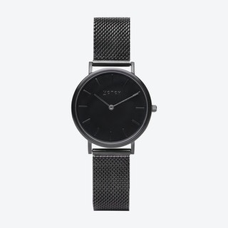 Petite Watch in All Black with Black Mesh Strap