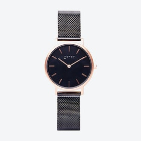 Petite Watch in Rose Gold Face with Black and Black Mesh Strap