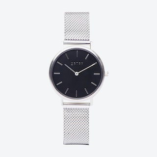 Petite Watch in Silver with Black Face and Silver Mesh Strap