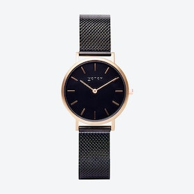 Petite Watch in Gold with Black Face and Black Mesh Strap
