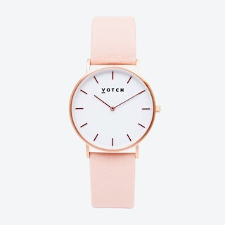 Classic Watch in Rose Gold with White Face and Pink Vegan Leather Strap, 38mm
