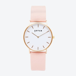 Classic Watch in Gold with White Face and Pink Vegan Leather Strap, 38mm