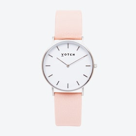 Classic Watch in Silver with White Face and Pink Vegan Leather Strap, 38mm