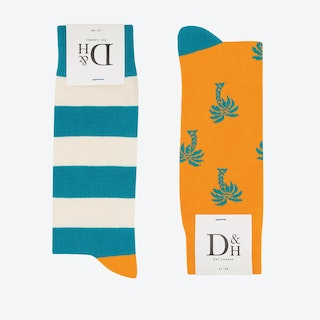 Palm Tree & Aqua Stripe 2 Pack (36)