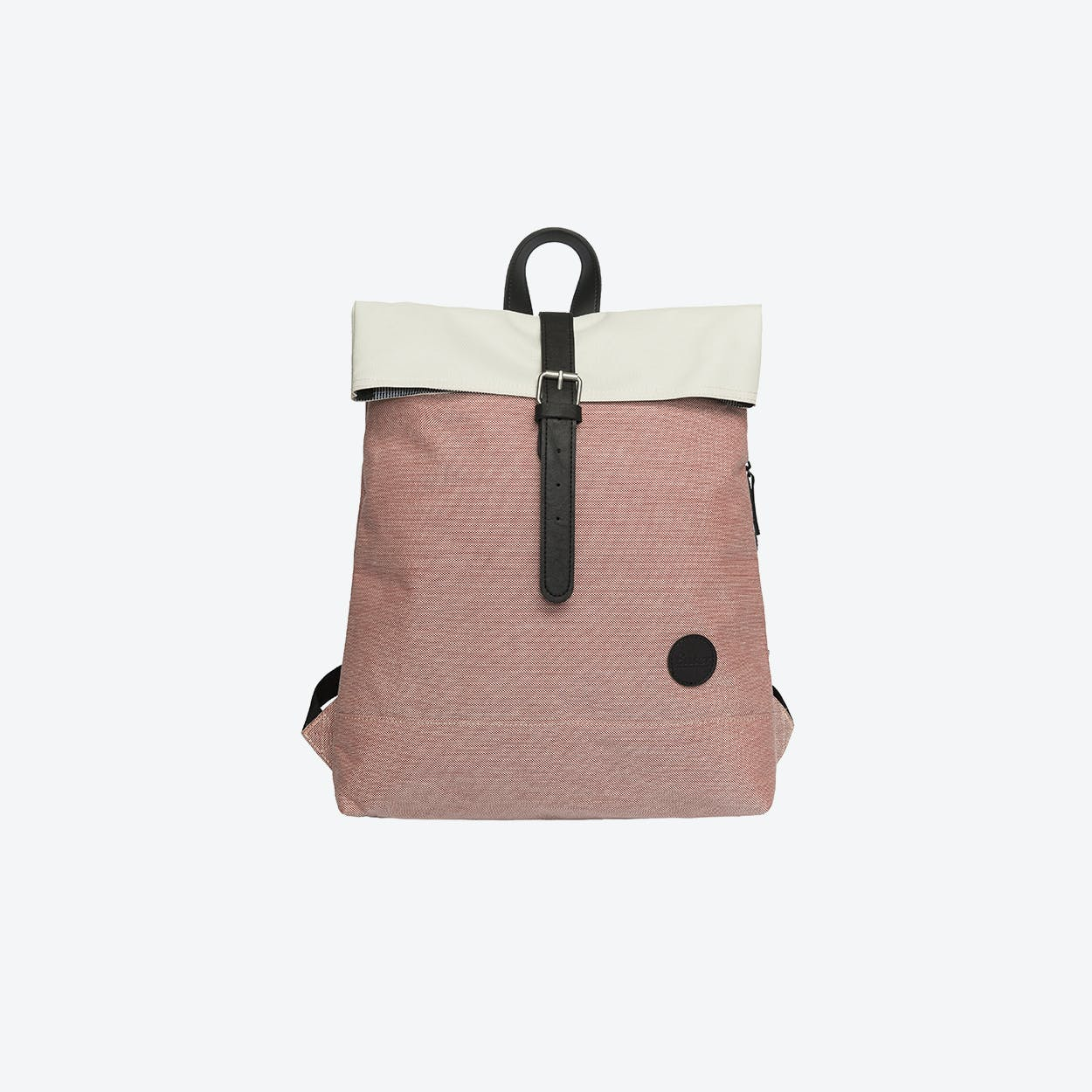 Fold Top Backpack - Melange Red/Natural Top