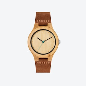 Histo Bamboo Wood Watch with Leather Stripe 40mm