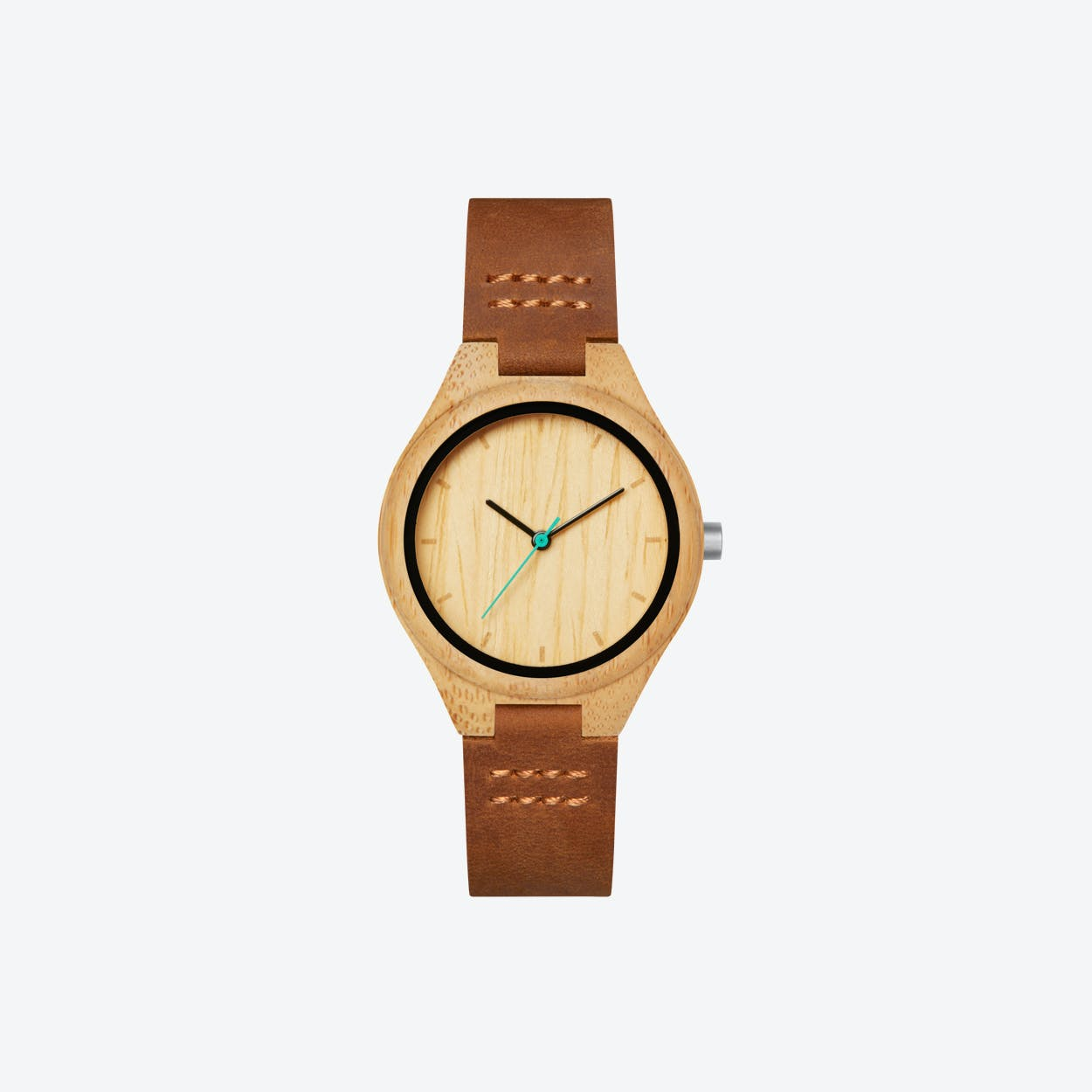 Histo Bamboo Wood Watch with Leather Stripe 34mm