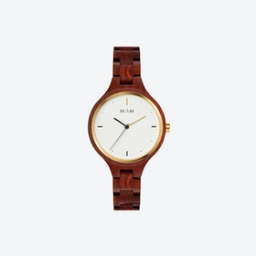 Silt Wooden Watch in Dark Red and White Face 34mm