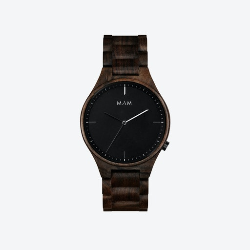 Volcano Wooden Watch in Dark Wood and Black/White 40mm
