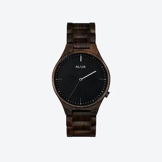 Volcano Wooden Watch in Dark Wood and Black/White 40mm