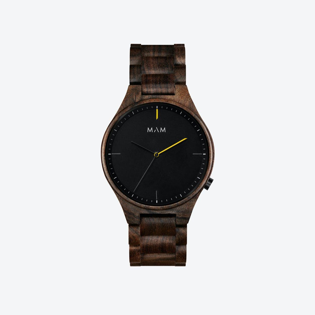 Volcano Wooden Watch in Dark Wood and Black/Yellow  40mm