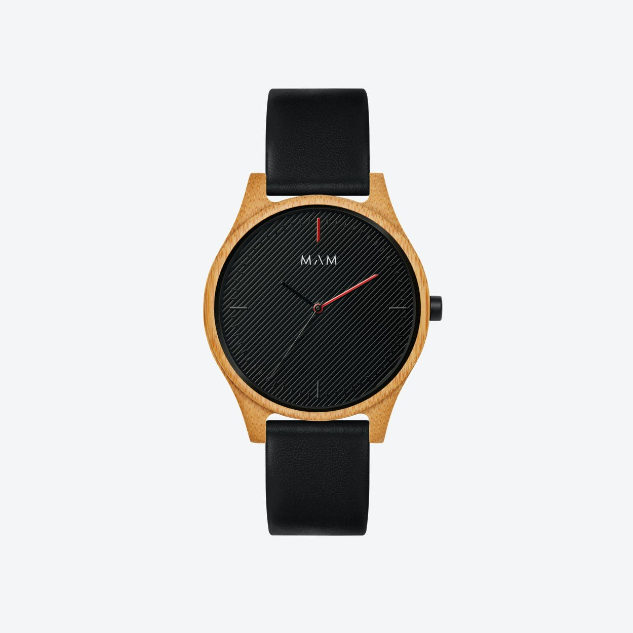 Areno Wooden Watch in Black and Black Leather Stripe 40mm