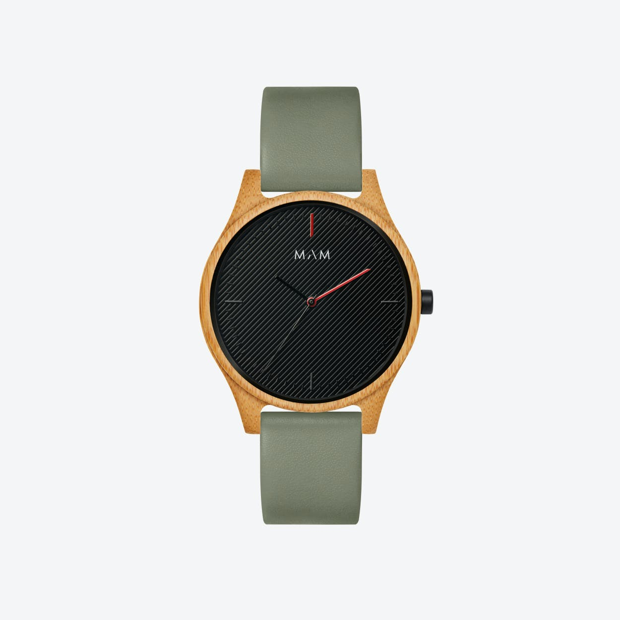 Areno Wooden Watch in Black and Olive Green Leather Stripe 40mm