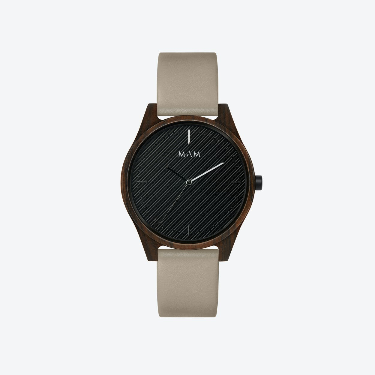 Areno Wooden Watch in Black and Grey Leather Stripe 40mm