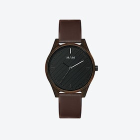 Areno Wooden Watch in Black and Brown Leather Stripe 40mm