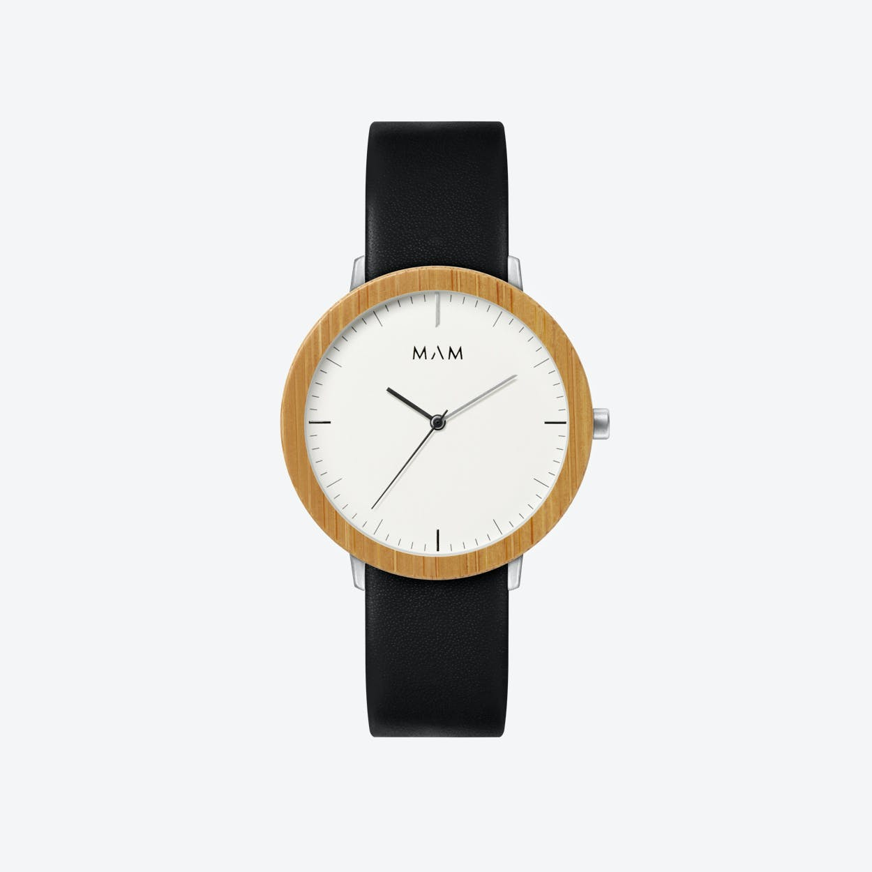 Ferra Wooden Watch in White Face and Black Leather Stripe 39mm