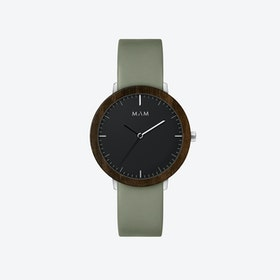 Ferra Wooden Watch in Black Face and Olive Green Leather Stripe 39mm