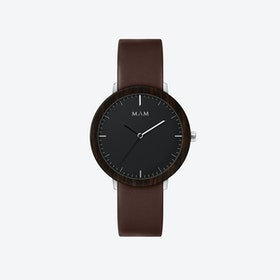 Ferra Wooden Watch in Black Face and Brown Leather Stripe 39mm