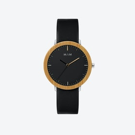 Ferra Bamboo Watch in Black Face and Black Leather Stripe 39mm