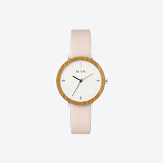 Ferra Bamboo Watch in White Face and Pearl Leather Stripe 33mm