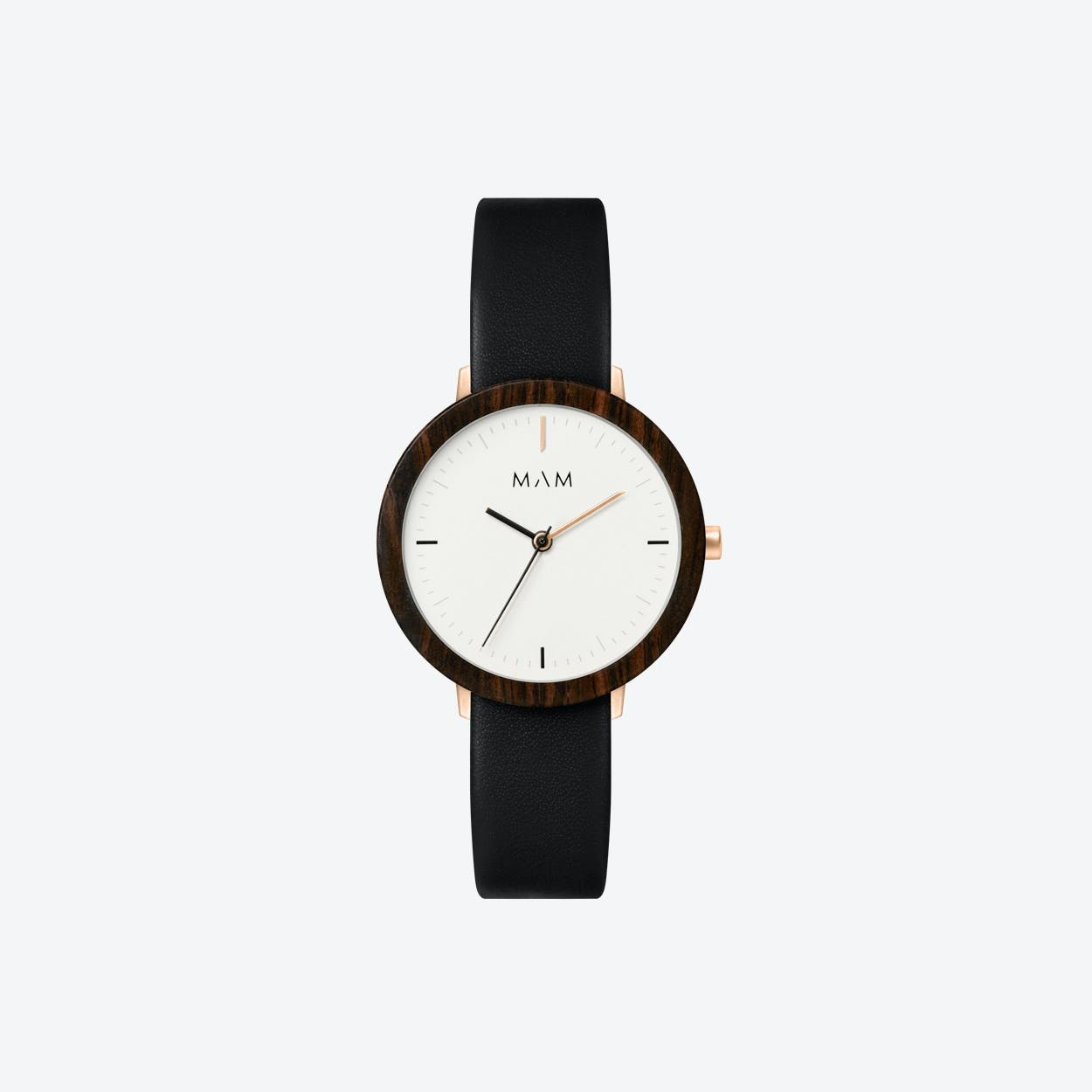 Ferra Wooden Watch in White Face and Black Leather Stripe 33mm