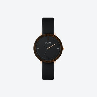 Ferra Wooden Watch in Black Face and Black Leather Stripe 33mm