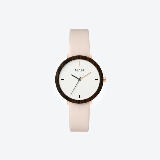 Ferra Wooden Watch in White Face and Pearl Leather Stripe 33mm