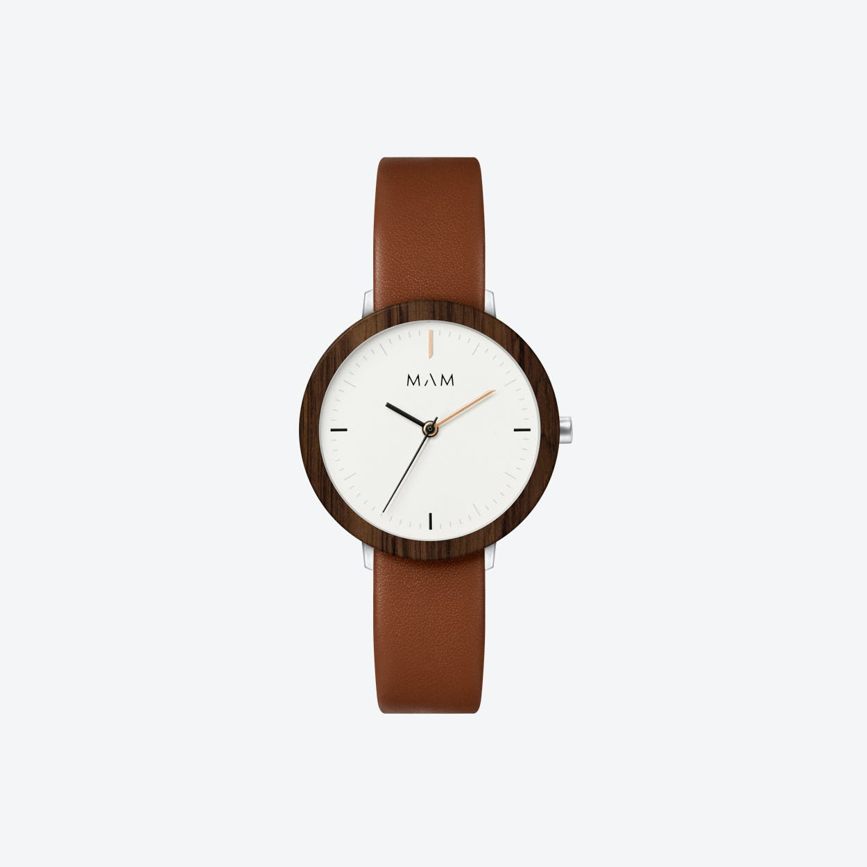 Ferra Wooden Watch in White Face and Caramel Leather Stripe 33mm