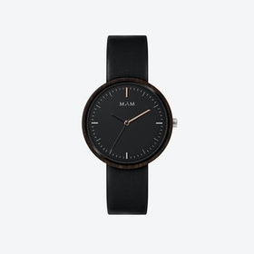 Plano Wooden Watch in Black Face and Black Leather Stripe 39mm