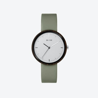 Plano Wooden Watch in White Face and Olive Green Leather Stripe 39mm