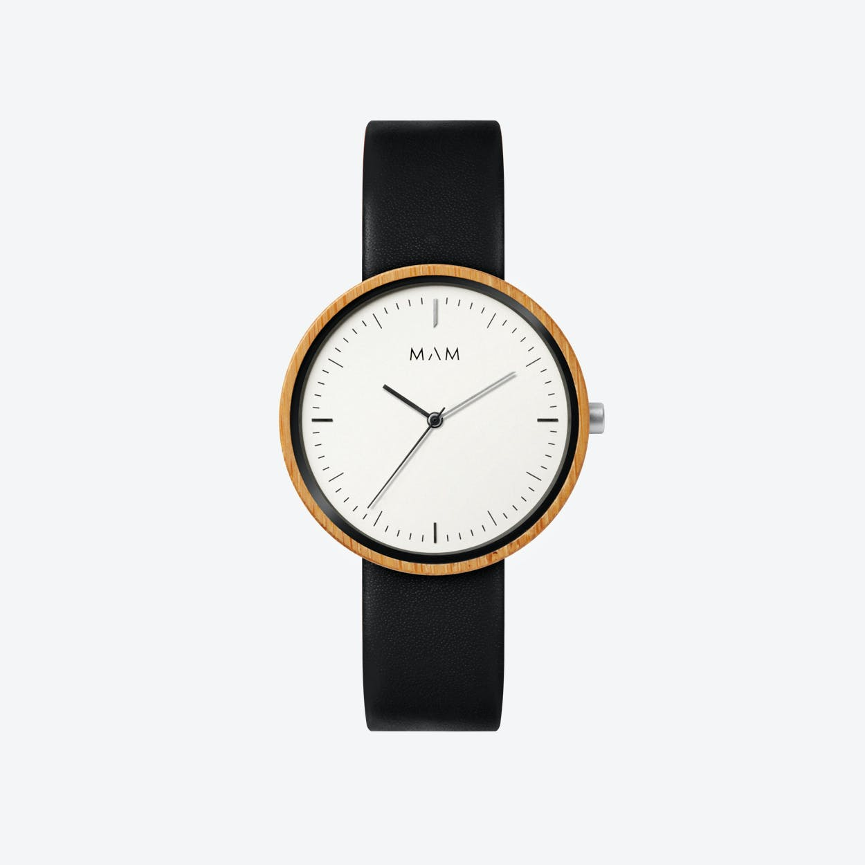 Plano Wooden Watch in White Face and Black Leather Stripe 39mm