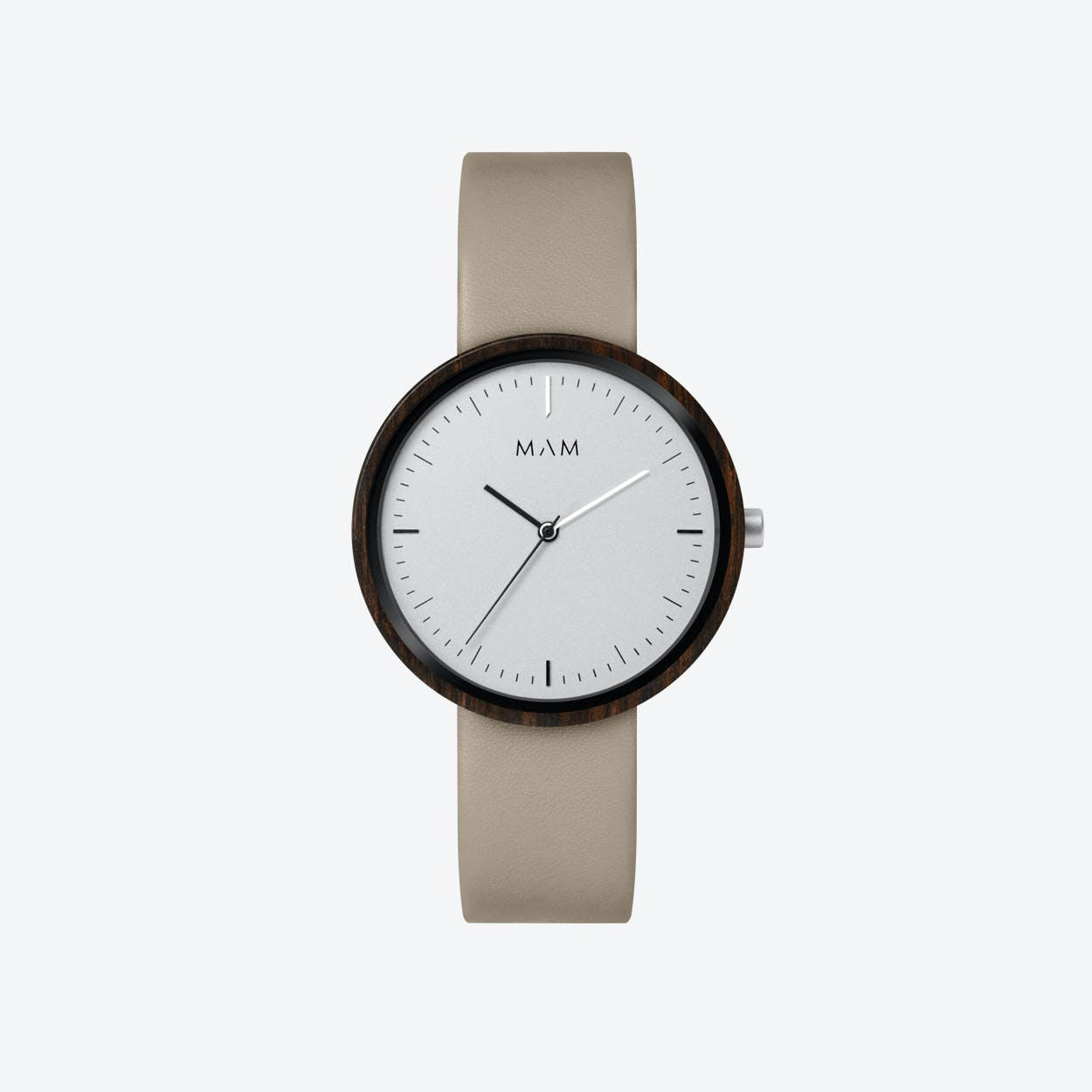 Plano Wooden Watch in White Face and Grey Leather Stripe 39mm