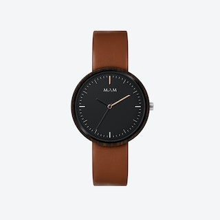 Plano Wooden Watch in Black Face and Caramel Leather Stripe 39mm