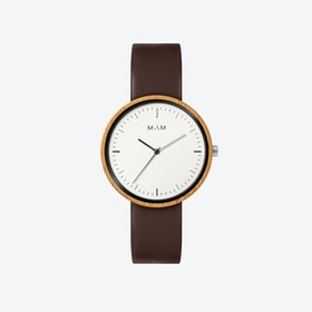 Plano Wooden Watch in White Face and Brown Leather Stripe 39mm