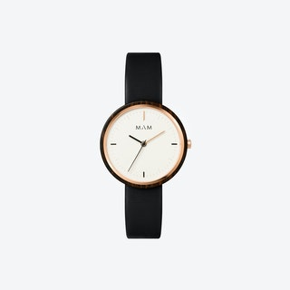 Plano Wooden Watch in White Face and Black Leather Stripe 33mm