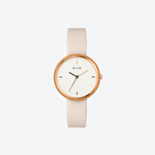 Plano Wooden Watch in White Face and Pearl Leather Stripe 33mm