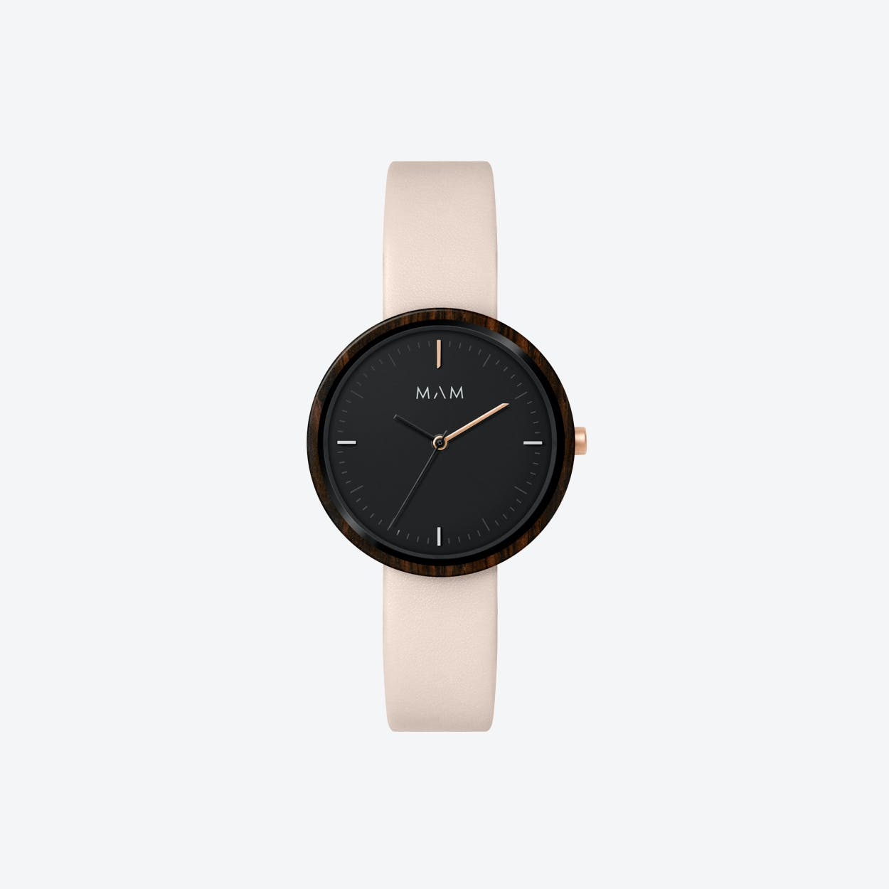 Plano Wooden Watch in Black Face and Pearl Leather Stripe 33mm