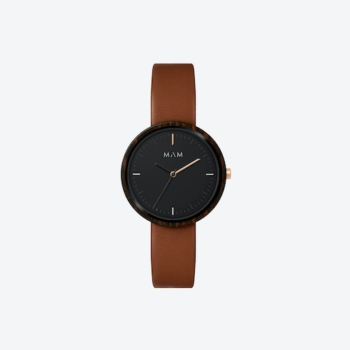 Plano Wooden Watch in Black Face and Caramel Leather Stripe 33mm