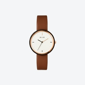 Plano Wooden Watch in White Face and Caramel Leather Stripe 33mm